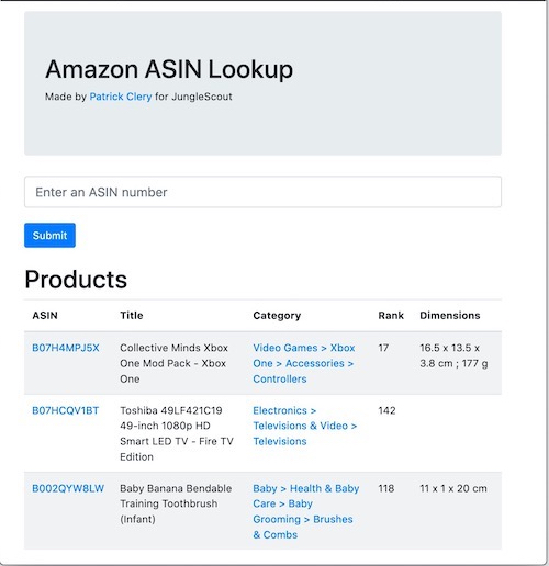Screenshot of Amazon ASIN Checker
