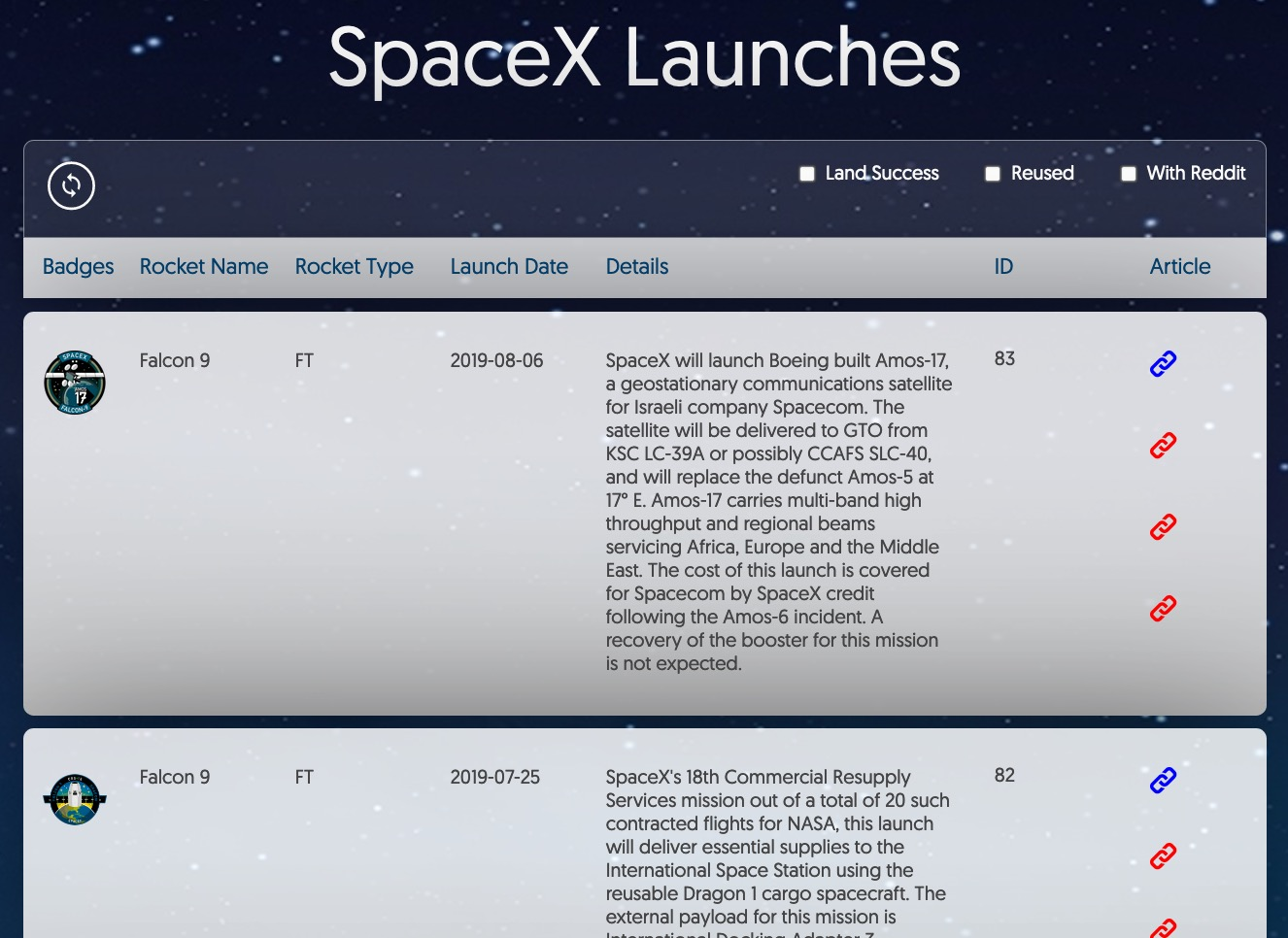Screenshot of SpaceX Flights